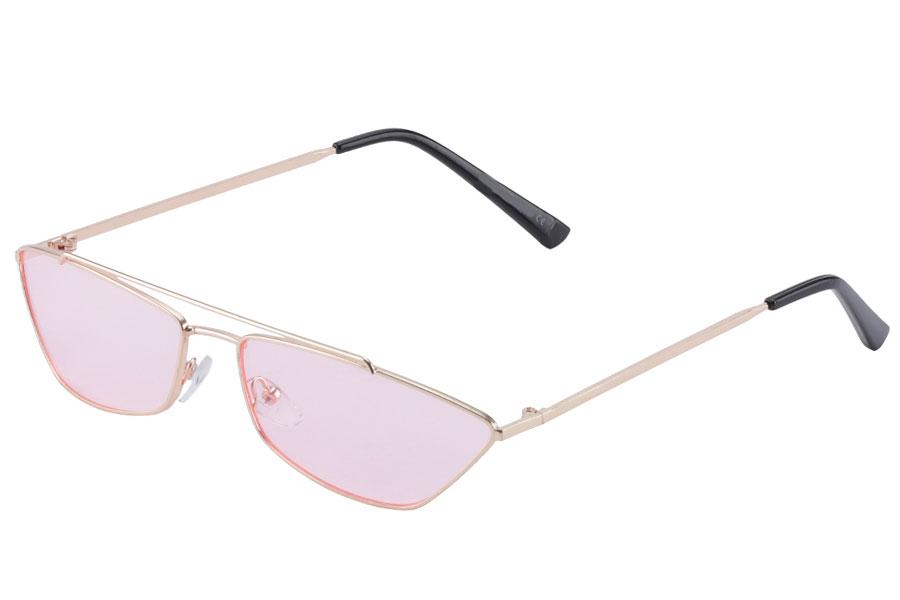 Lækker solbrille i smalt metalstel med lyse lyserøde glas - Design nr. s3865 9aaffd0a40417