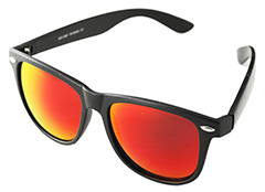 Sort wayfarer solbrille med rødt/orange multifarvet glas - Design nr. s394