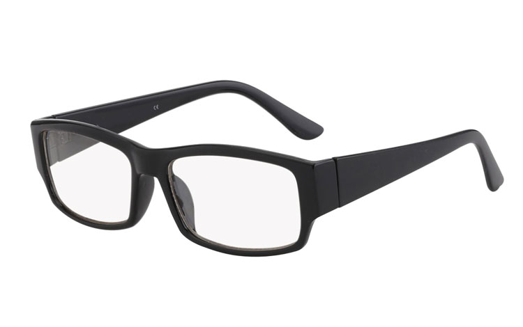 Sort brille med klart glas - Design nr. s403