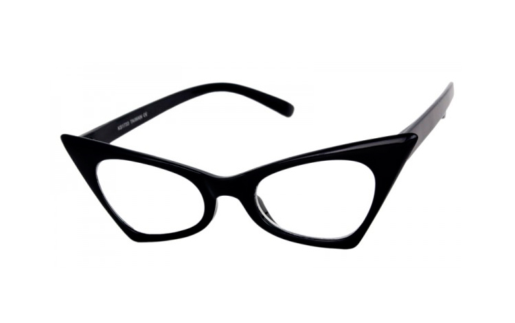 Sort Cat-eye brille i kantet design - Design nr. s4062