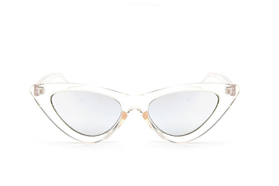 Fræk transparent solbrille i Cat-Eye design med sølvfarvet spejlglas - Design nr. s4143